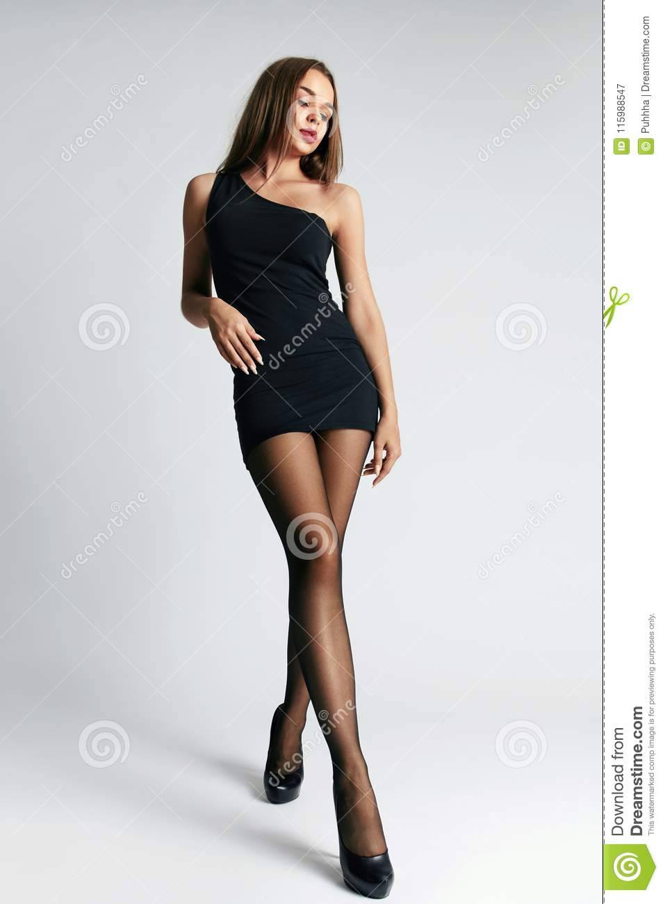 Beautiful Woman In Black Dress And Stockings Stock Image - Image Of Wear, Tights -4901