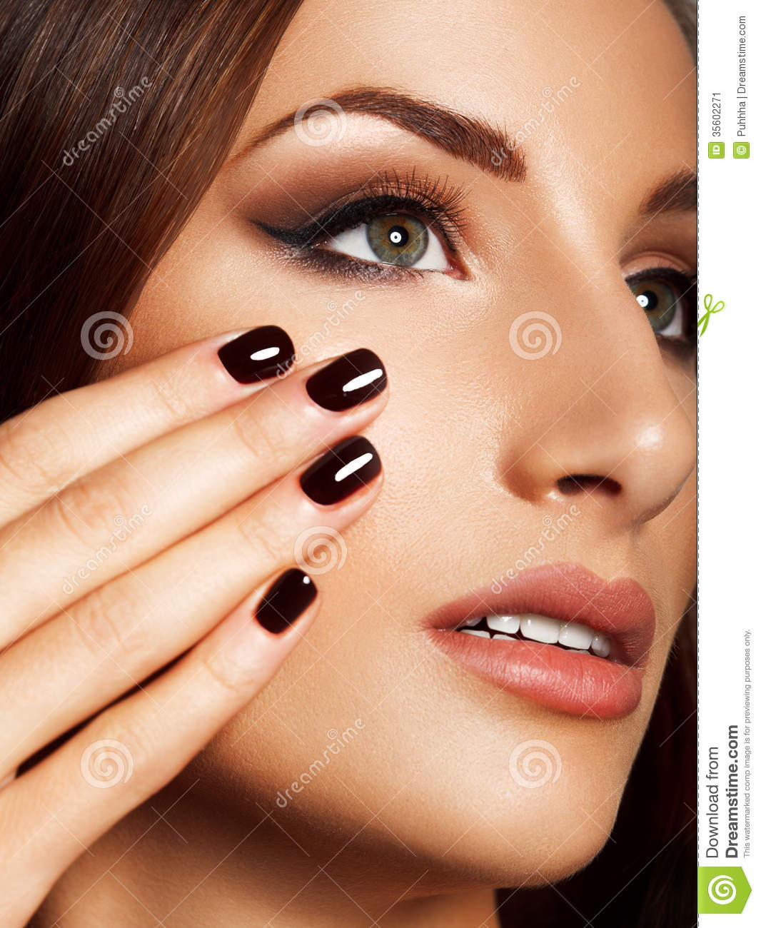 beautiful woman with black nails makeup and manicure