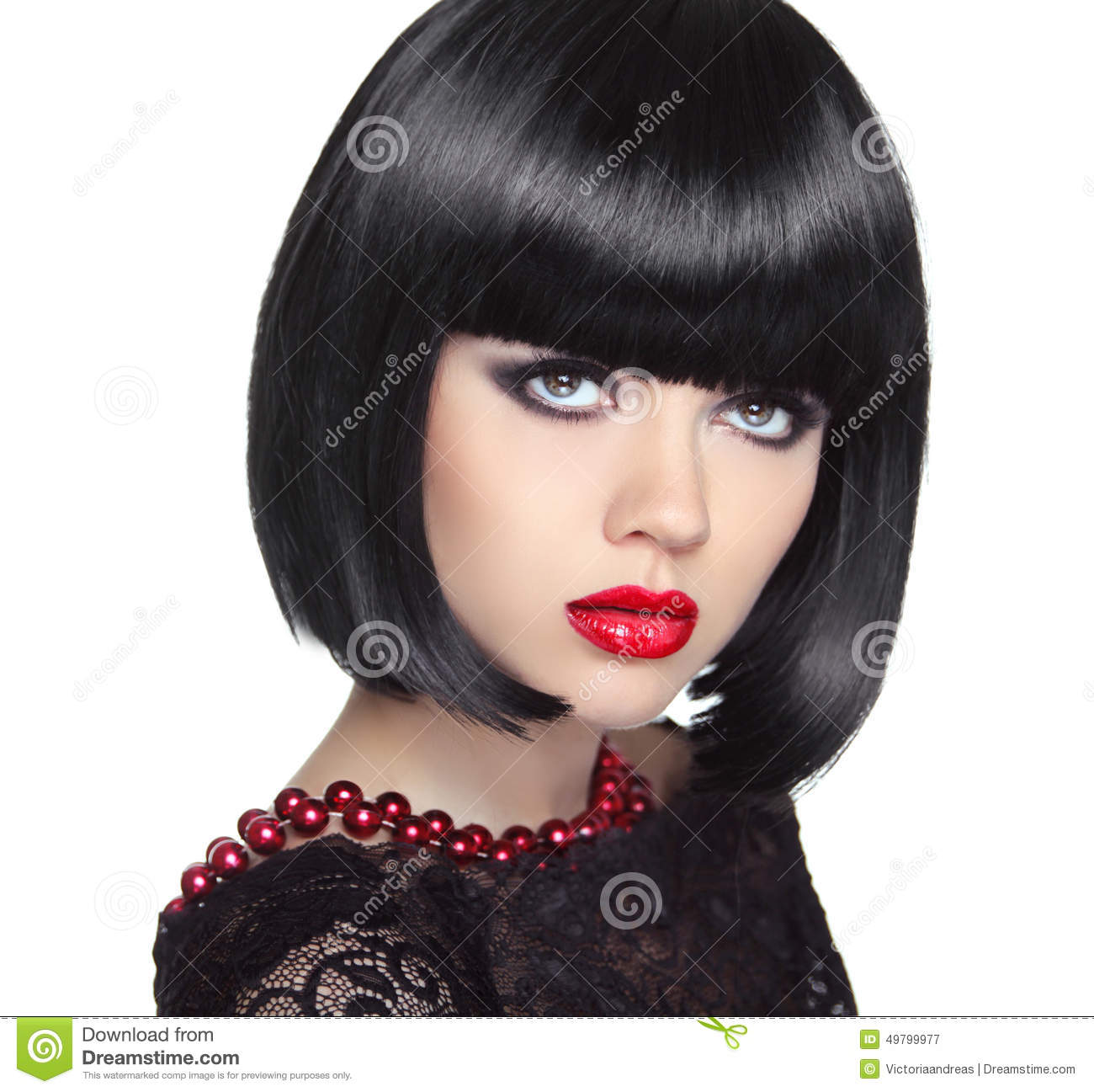 Beautiful Woman With Black Short Hair Haircut Hairstyle Stock