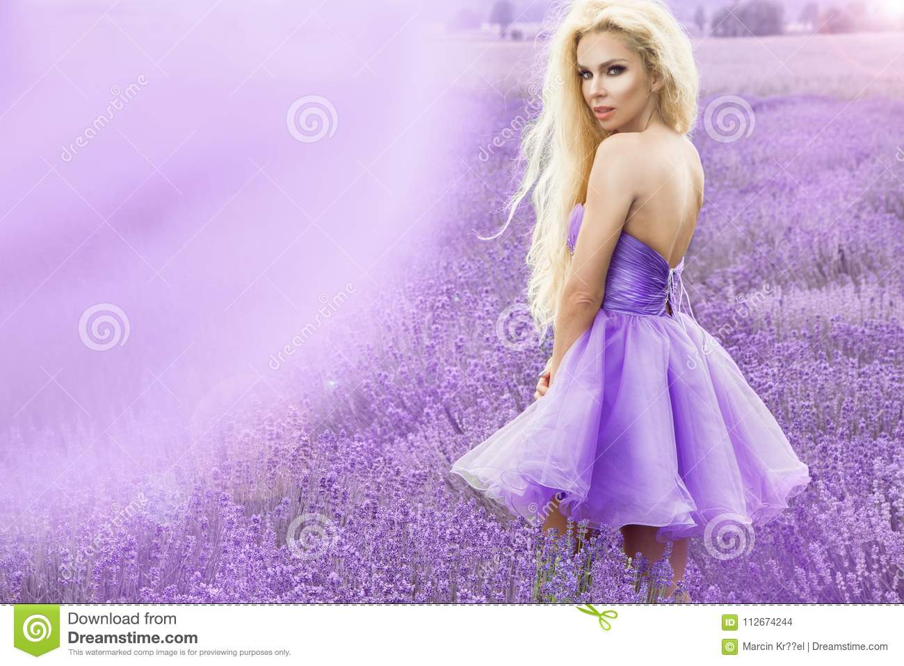 Beautiful Woman With Blond Hair In A Beautiful Long White Wedding