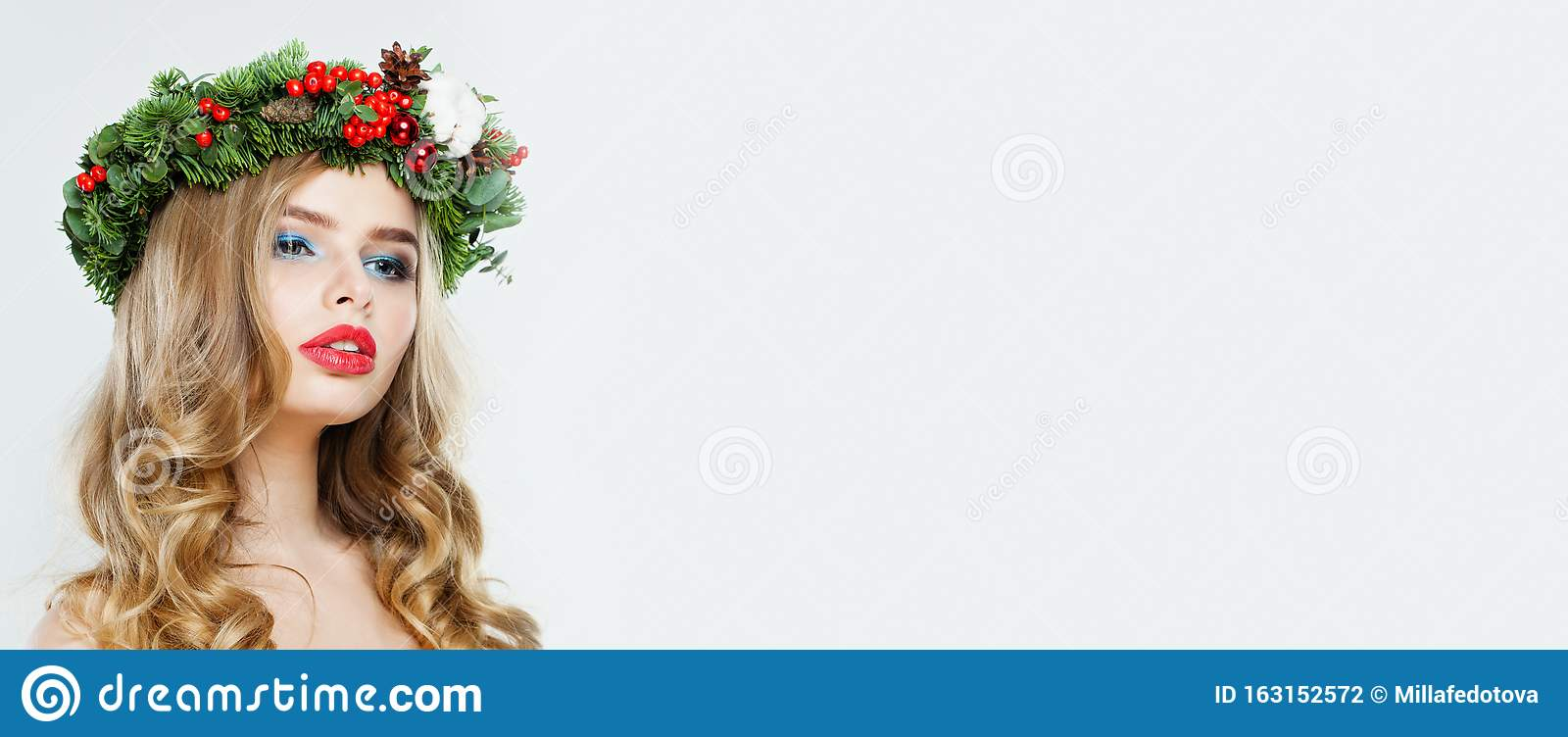 Beautiful Woman With Blonde Curly Hair On White Banner Background Christmas Concept Stock Photo Image Of Blonde Cute 163152572