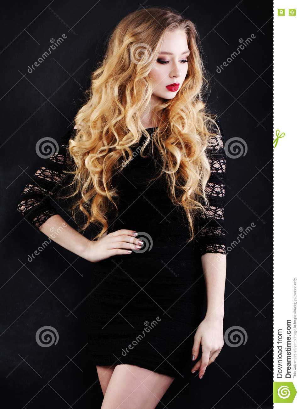 Beautiful Woman With Blonde Hair In Black Dress Stock Photo Image