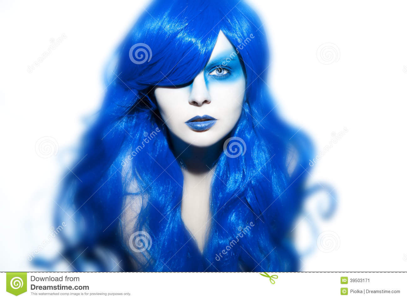 Beautiful woman with blue Hair and Make Up