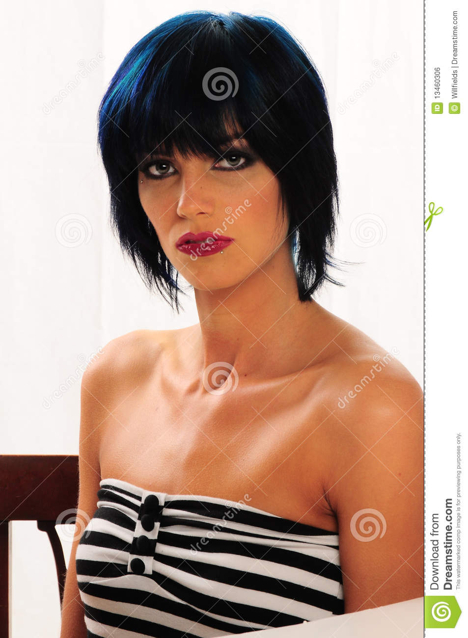 Beautiful Woman With Blue Tinted Hair Stock Photo Image