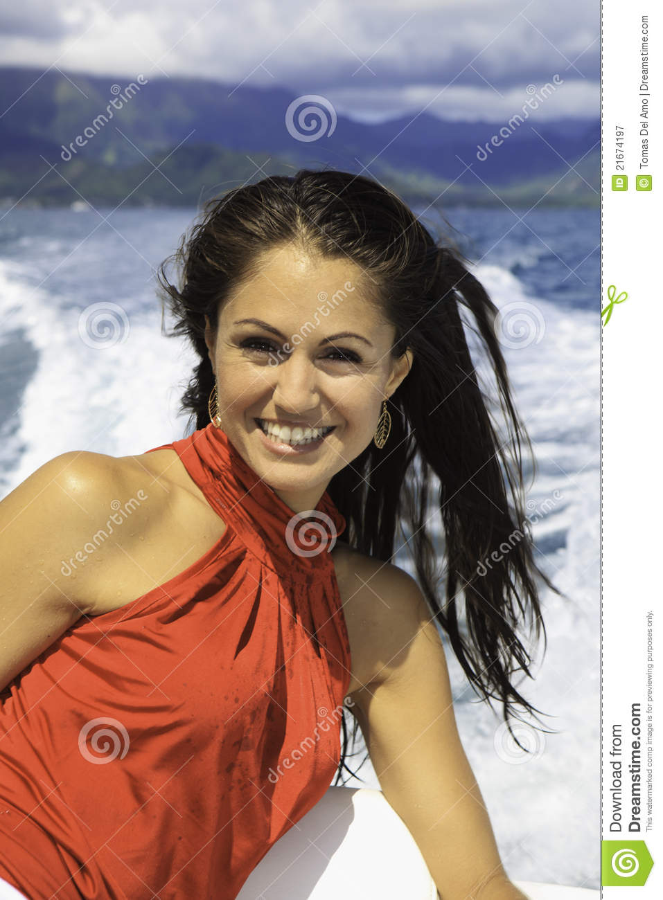 Beautiful Woman On A Boat Royalty Free Stock Photography - Image: 21674197