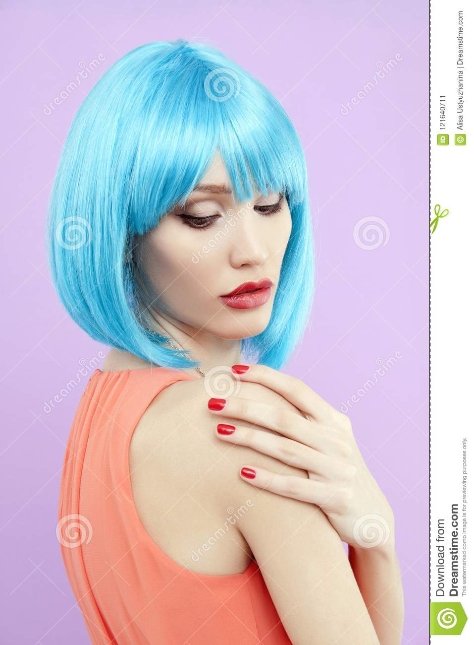 Girl With Blue Hair Style And Make Up Stock Image Image Of Haircut