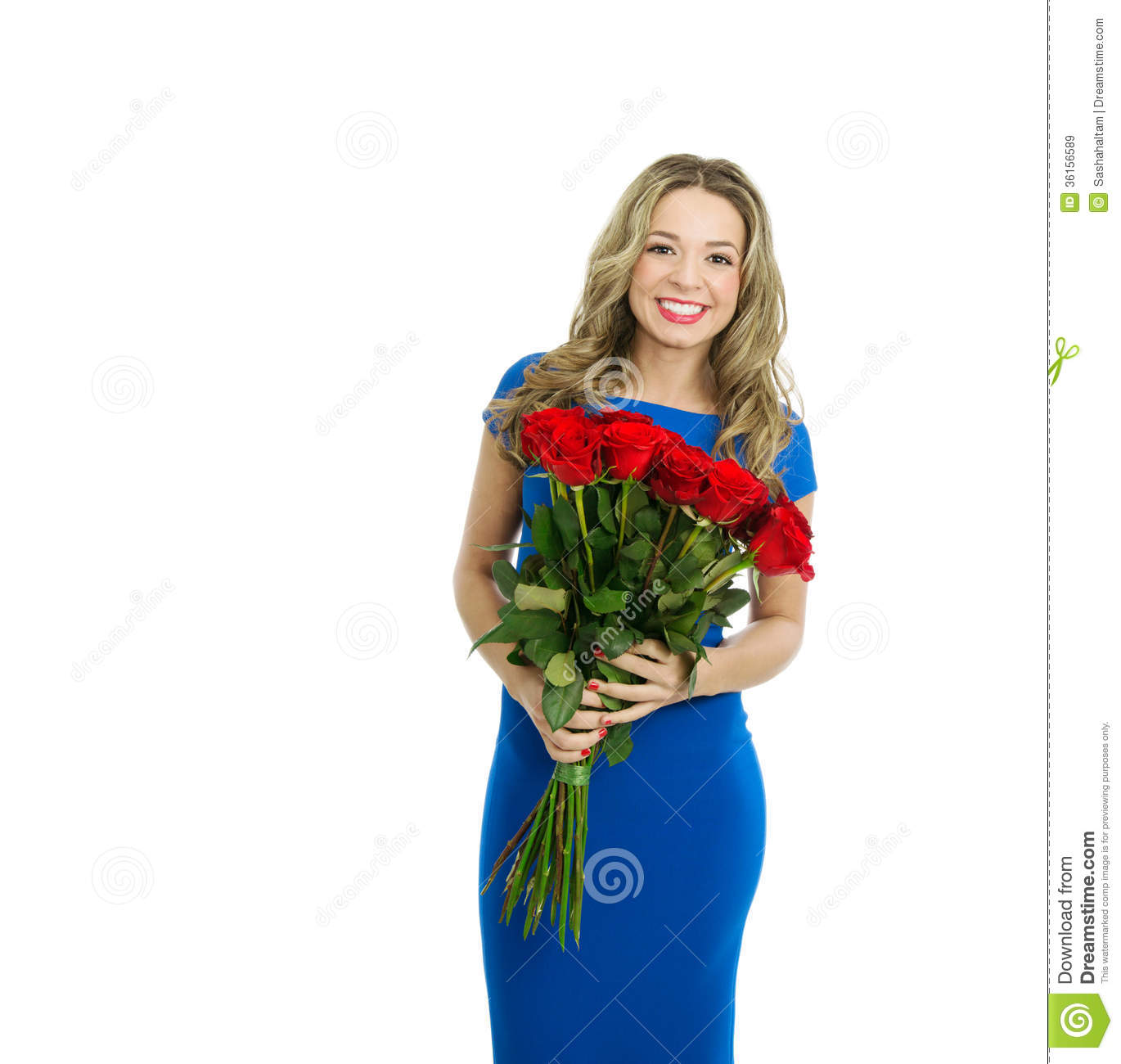 makeup valentine's day cards - Beautiful Woman With Bouquet Red Roses Royalty Free