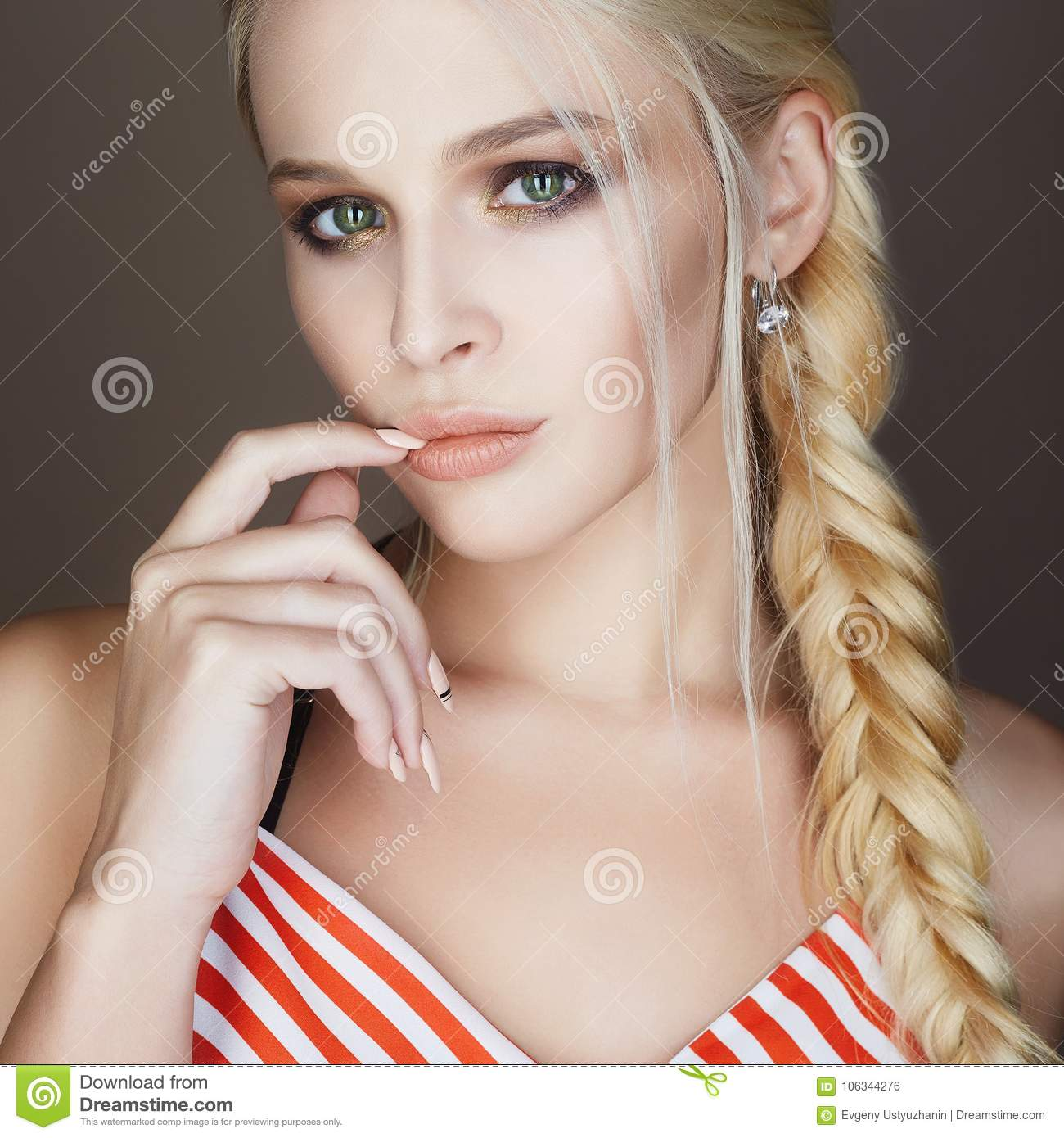 Super Beautiful Woman With Braided Hair Make Up And Manicure Stock Natural Hairstyles Runnerswayorg