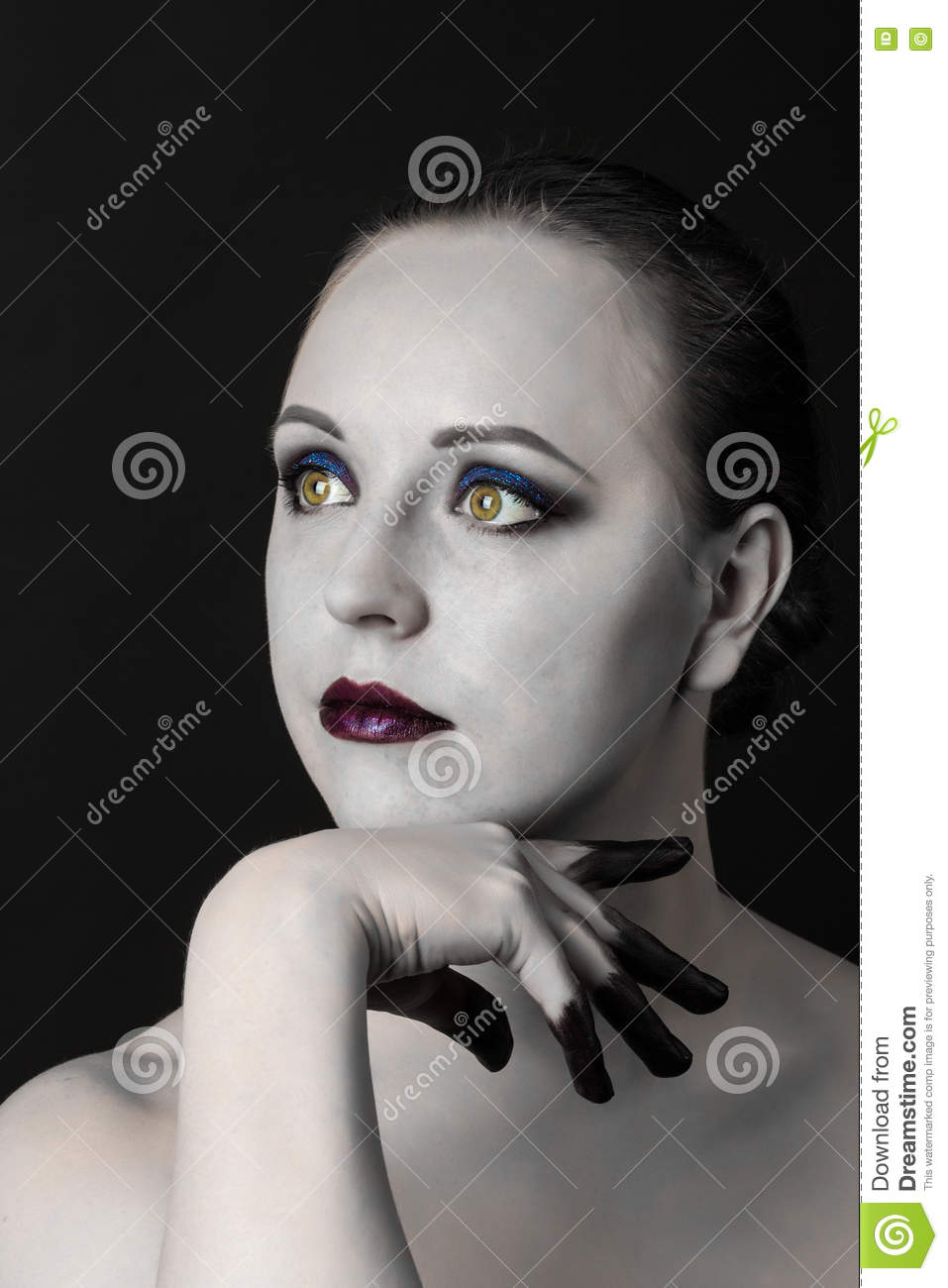 Beautiful Woman With Bright Smoky Eyes Make Up Black And White Skin