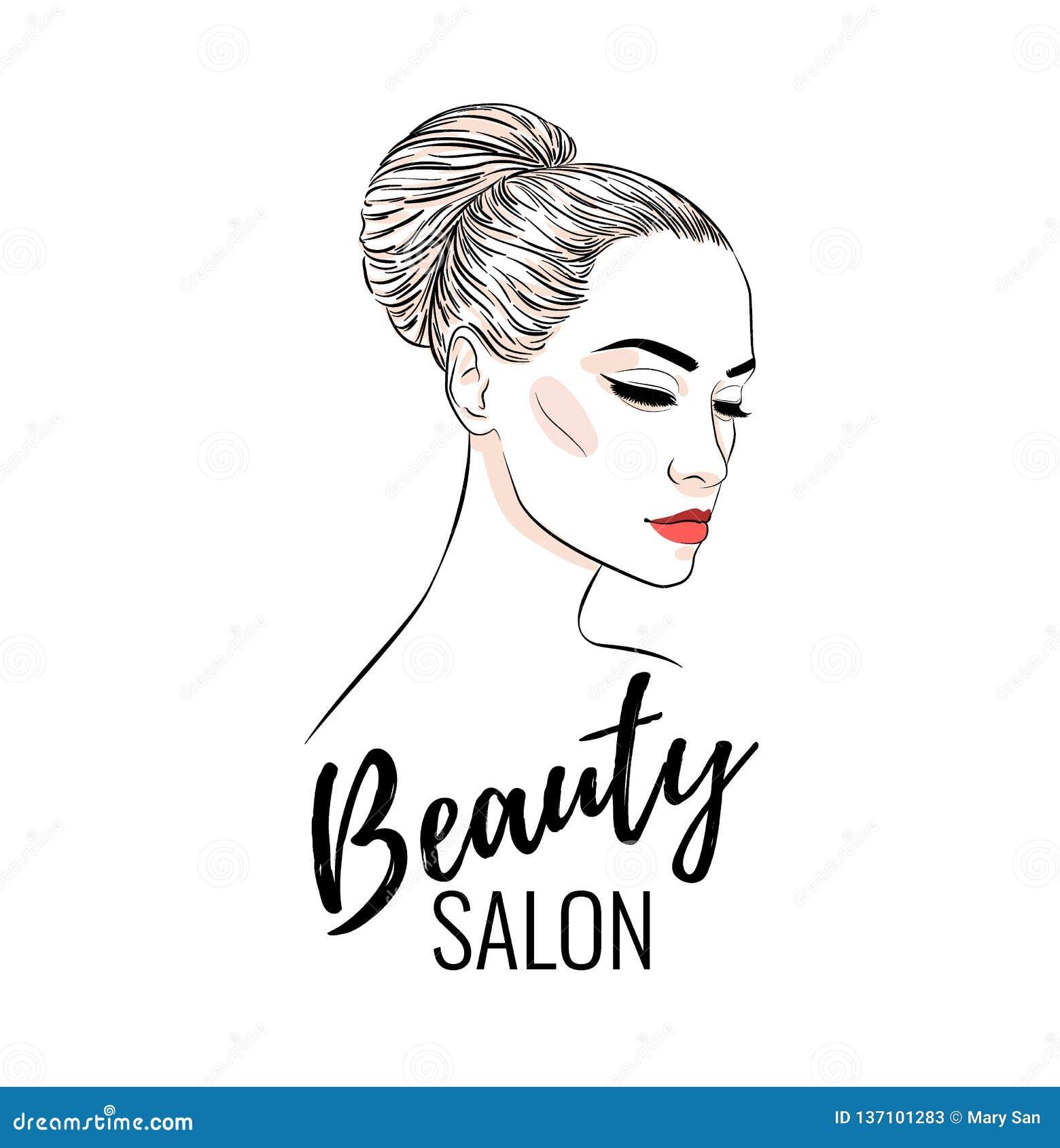 Beautiful Woman With Bun Hairstyle, Beauty Salon, Banner ...
