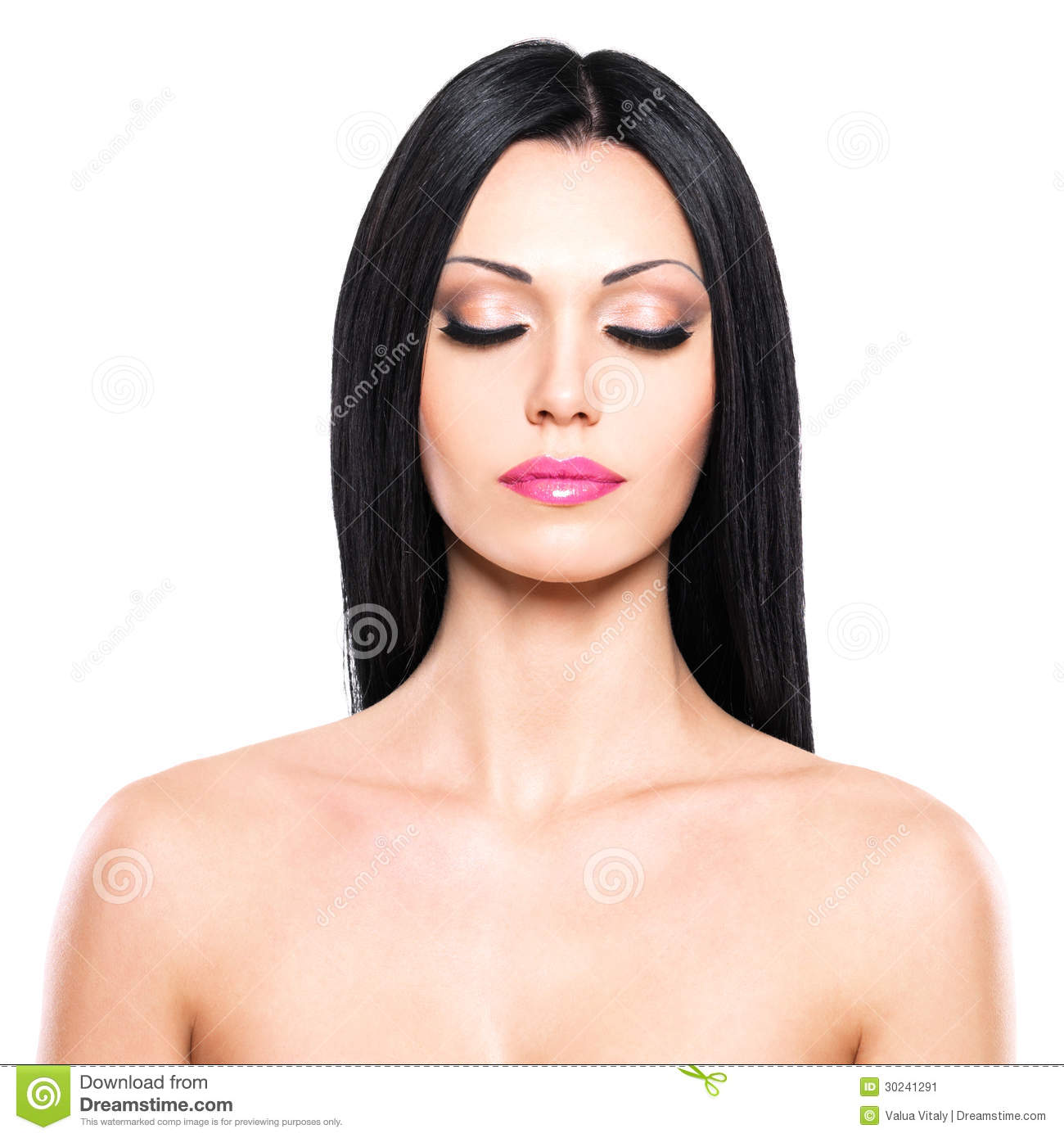 Beauty Portrait Of The Pretty Woman With Closed Eyes Stock