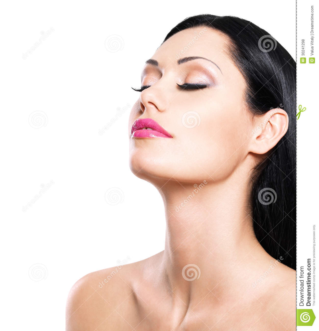 Beautiful woman cares of the skin face isolated on white background ...