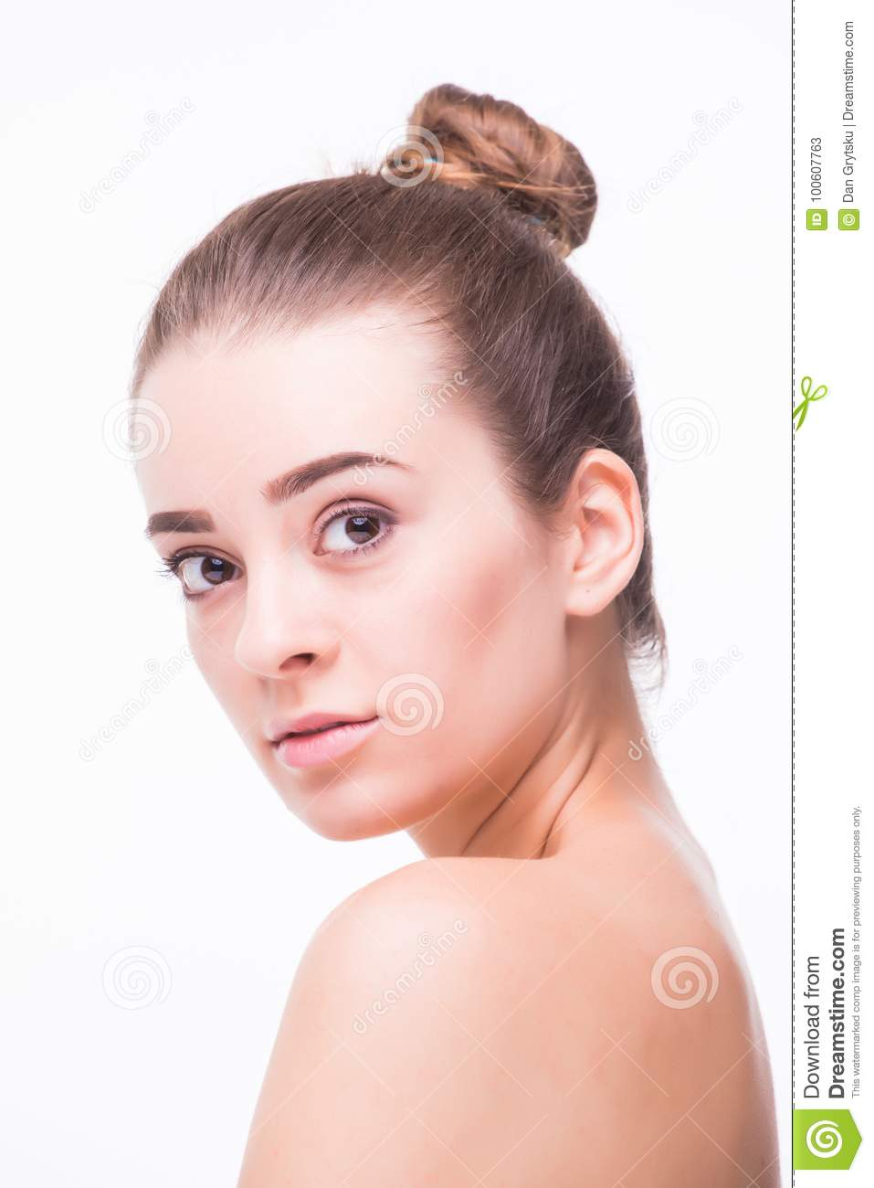 Beautiful woman cares for the skin neck- posing at studio isolated