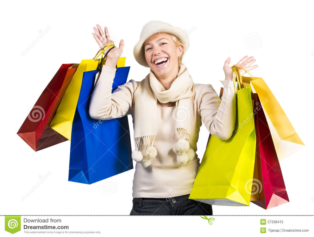 Beautiful Woman Carrying A Lot Of Shopping Bags Stock Images ...