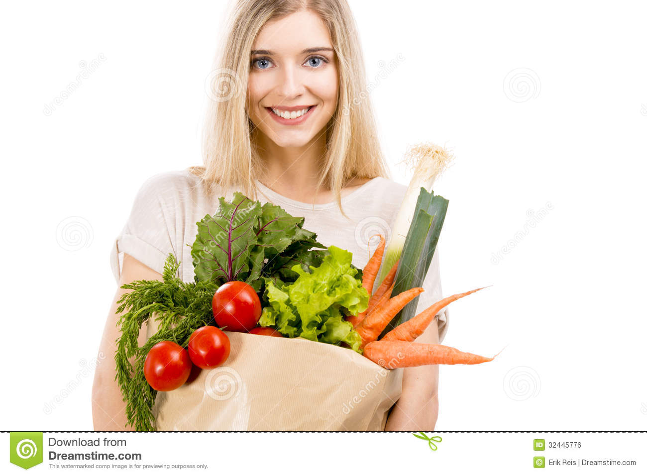 Beautiful woman carrying vegetables royalty free stock for Beautiful vegetables