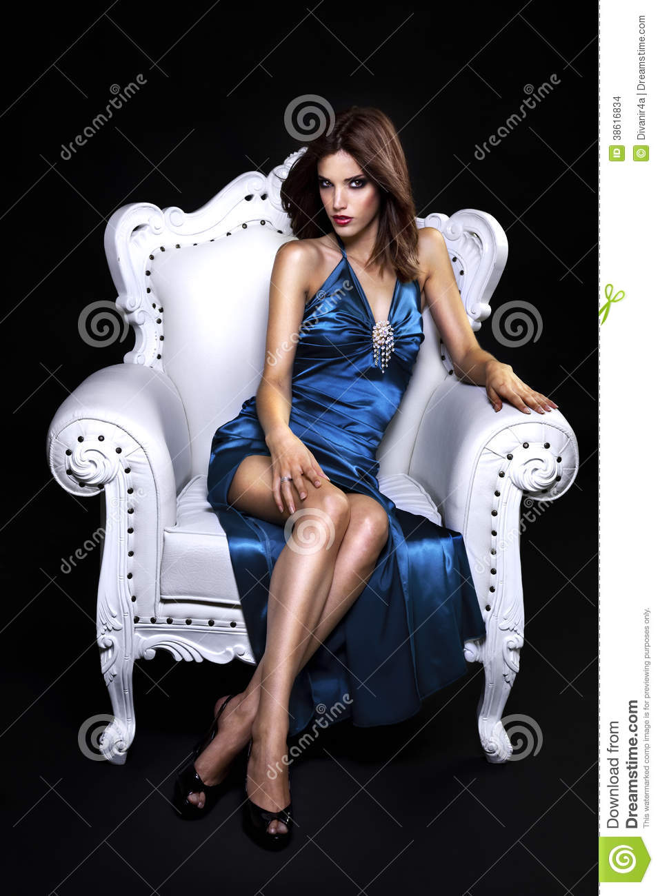Beautiful Woman In A Chair Stock Images - Image: 38616834