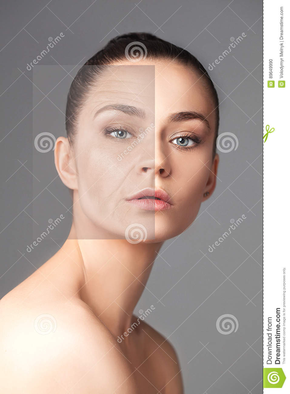Beautiful woman changing skin beauty concept