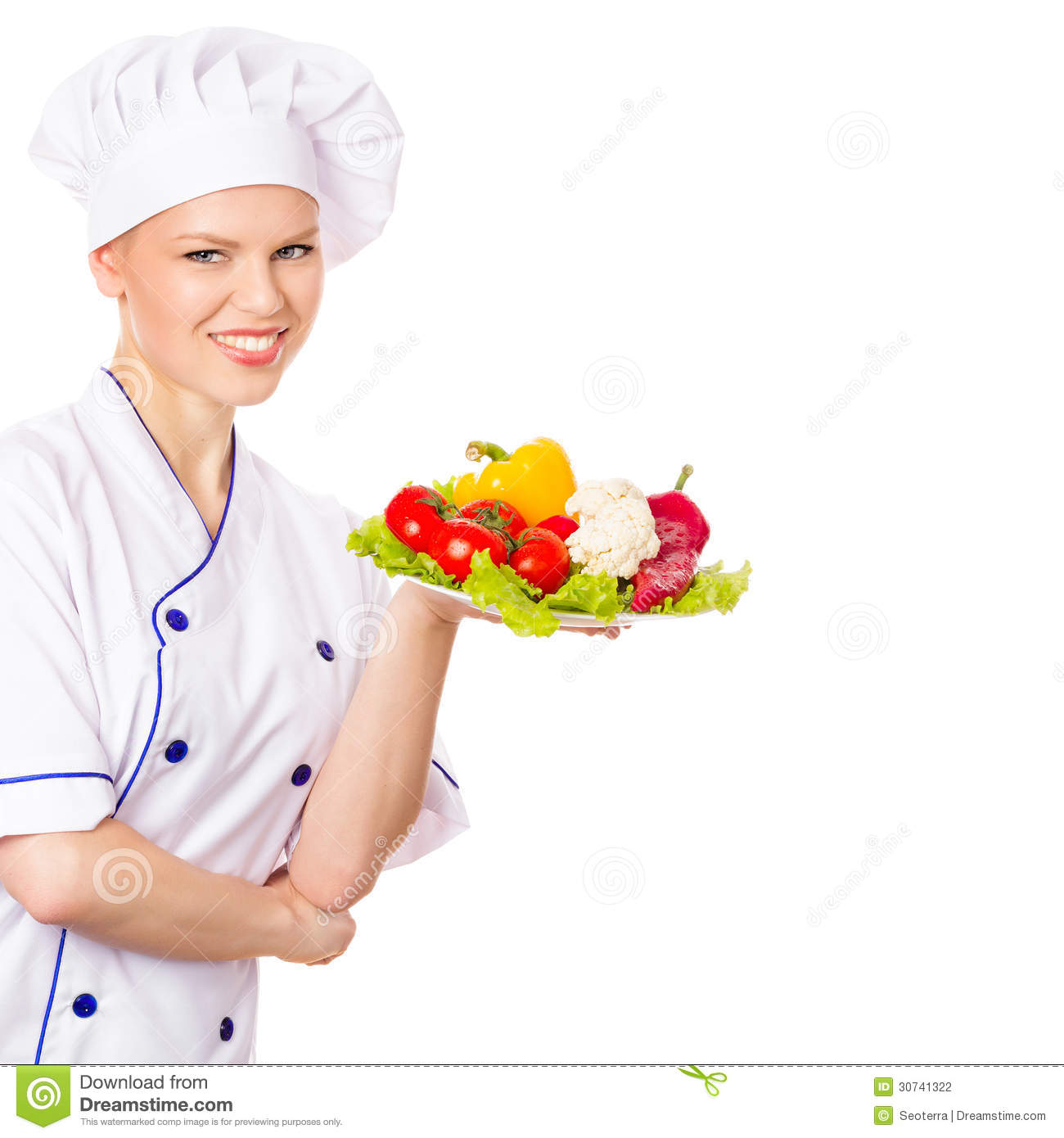 ... . Young cheerful female chef wearing chefs hat. Isolated on white