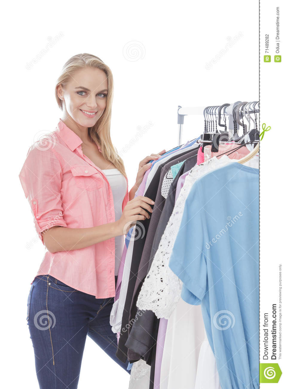 Beautiful Young Girl Choosing Jeans In Store Stock Photo ...