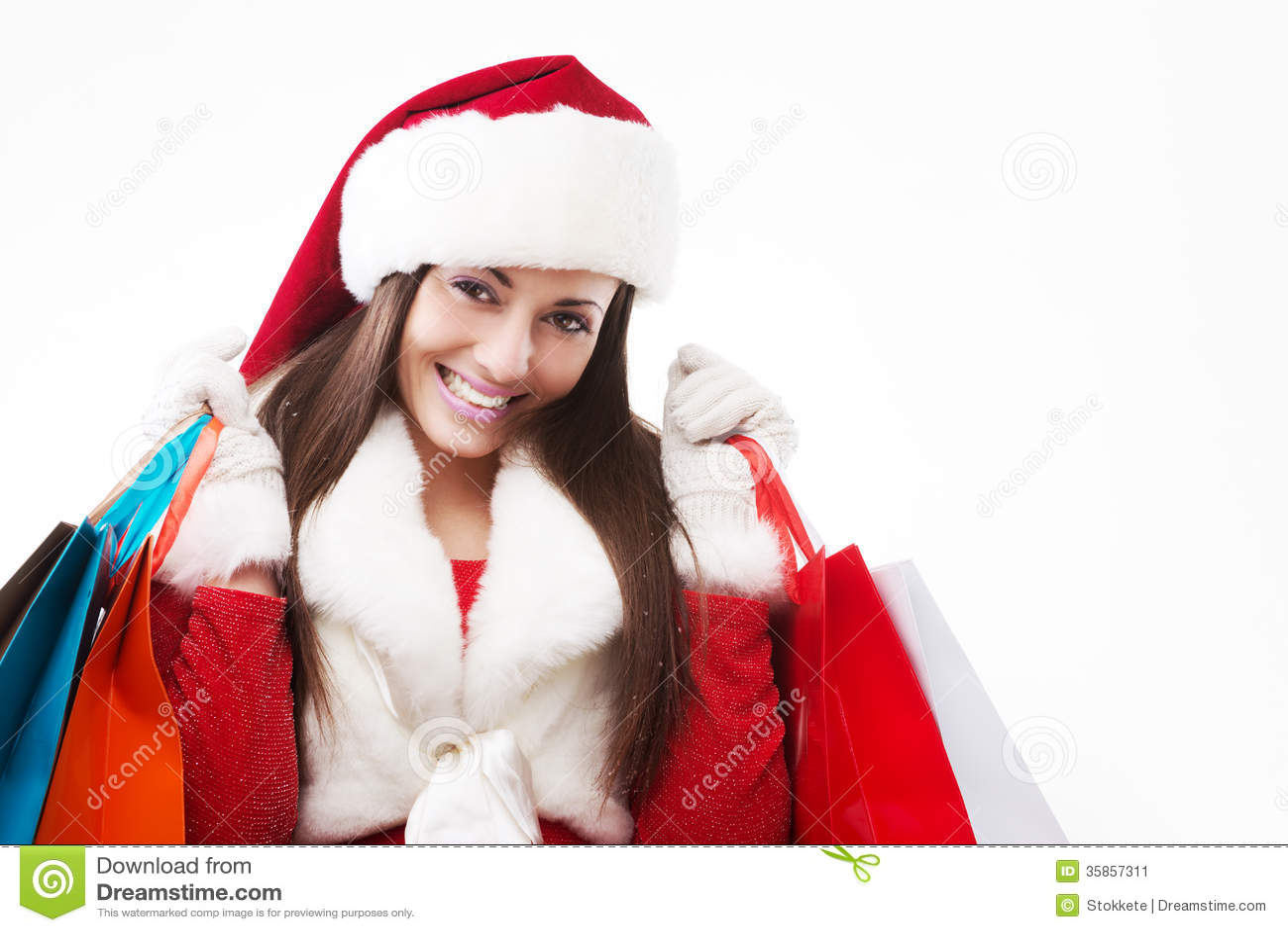 Beautiful Woman Christmas Shopping Stock Image Image