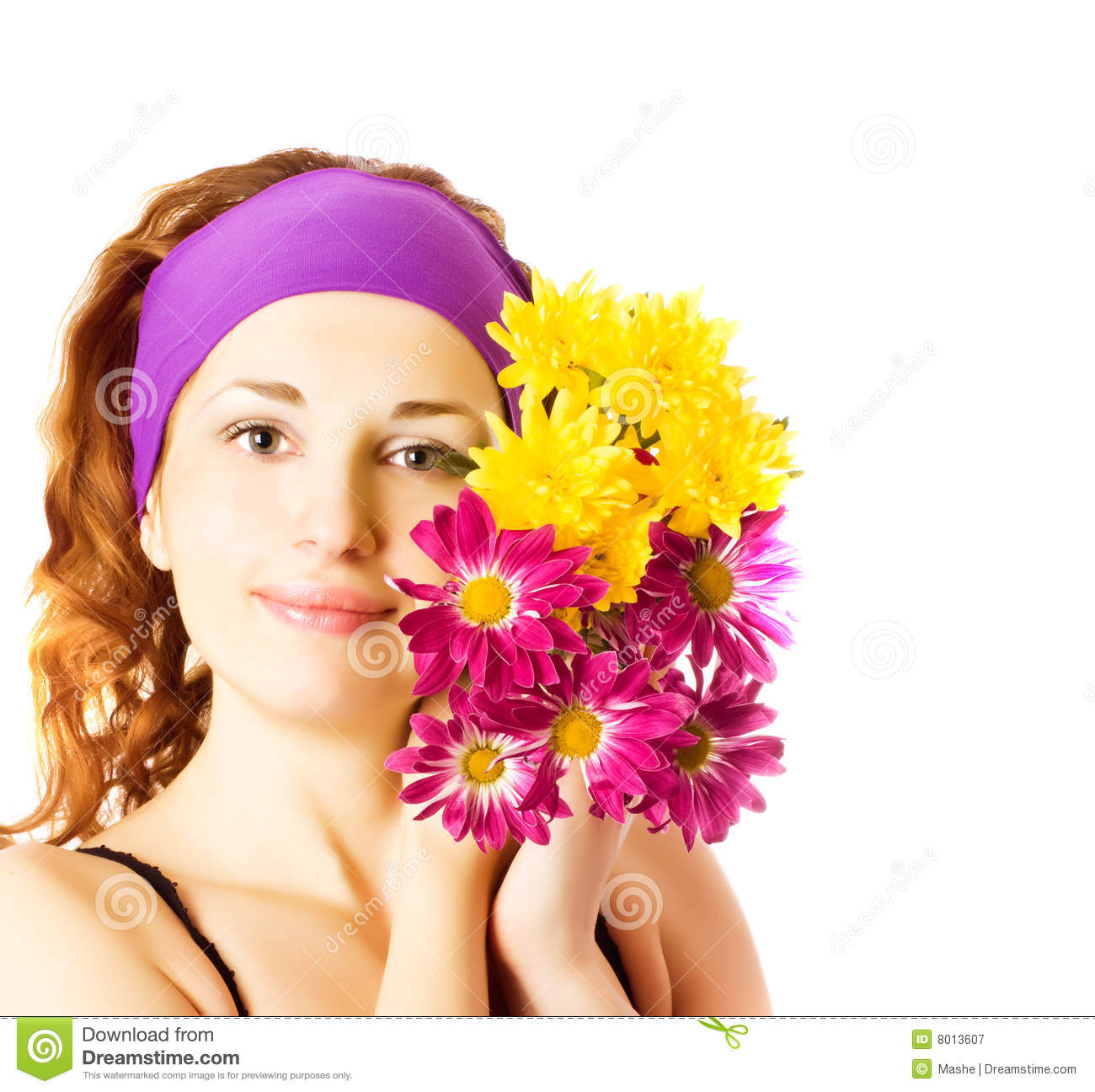Beautiful Woman With Chrysanthemums Stock Image Image Of