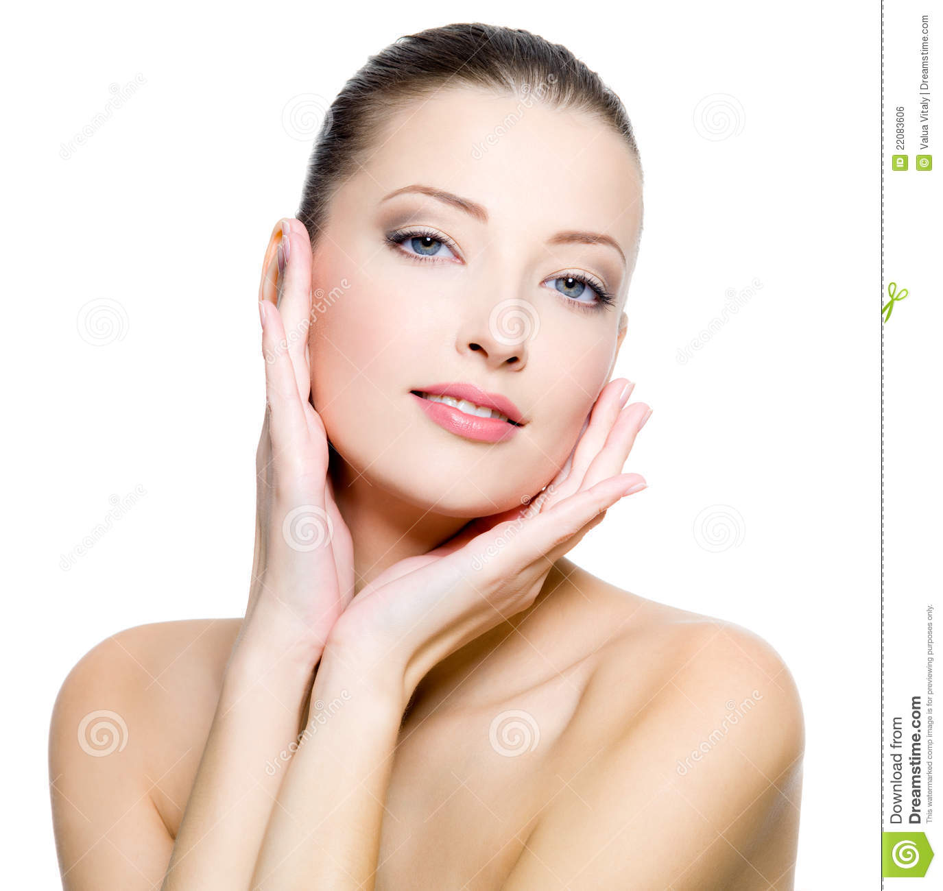 Beautiful Woman With Clean Skin Of The Face Royalty Free