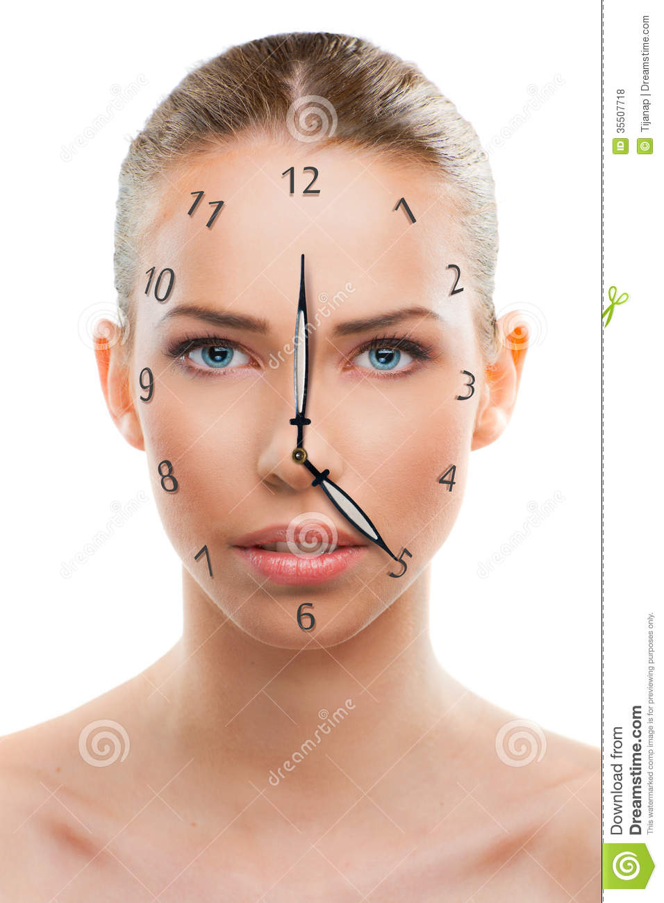 Beautiful woman close up with a clock