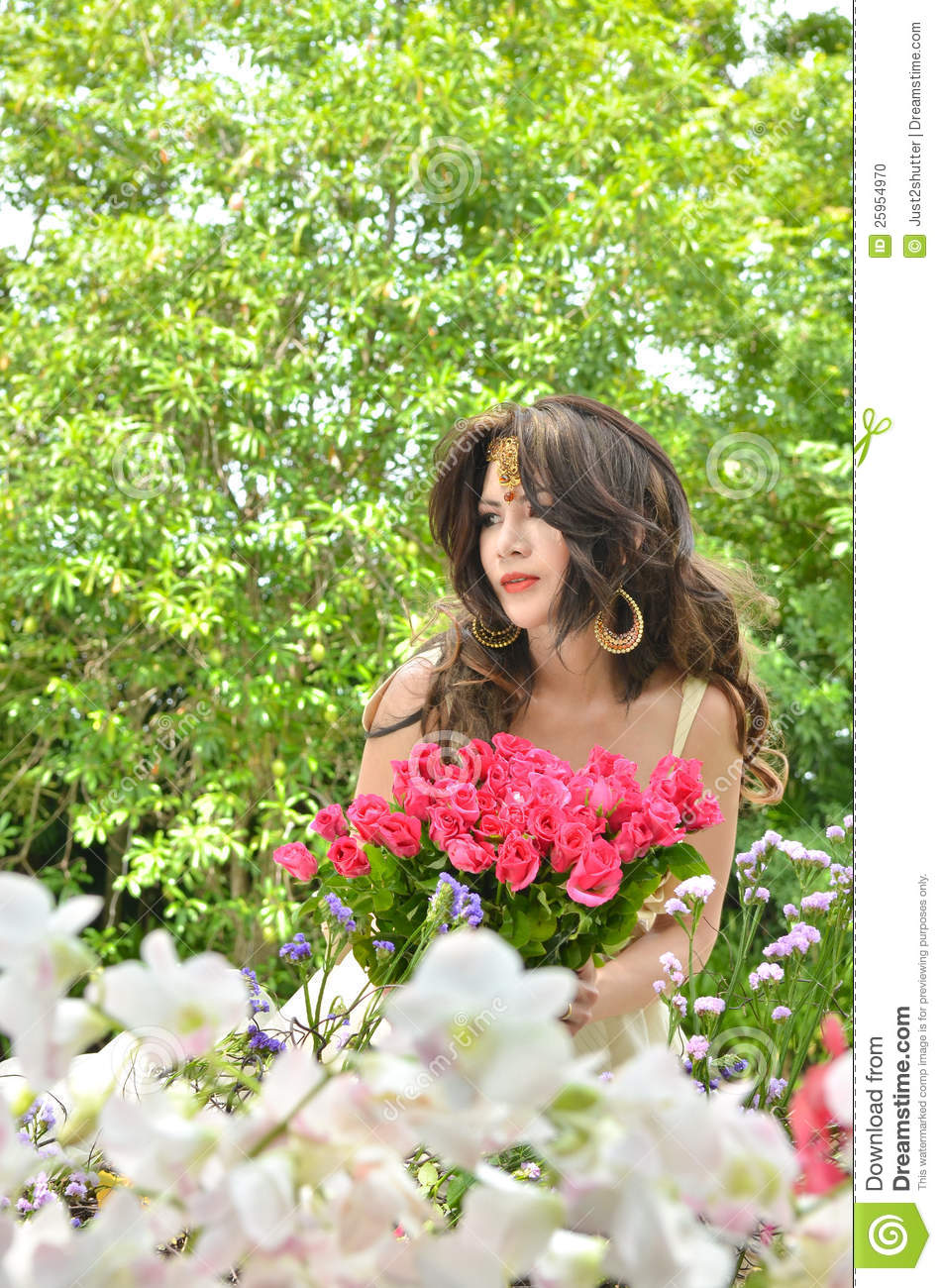 Beautiful Woman Collecting Pink Rose Flowers Stock Photo Image Of