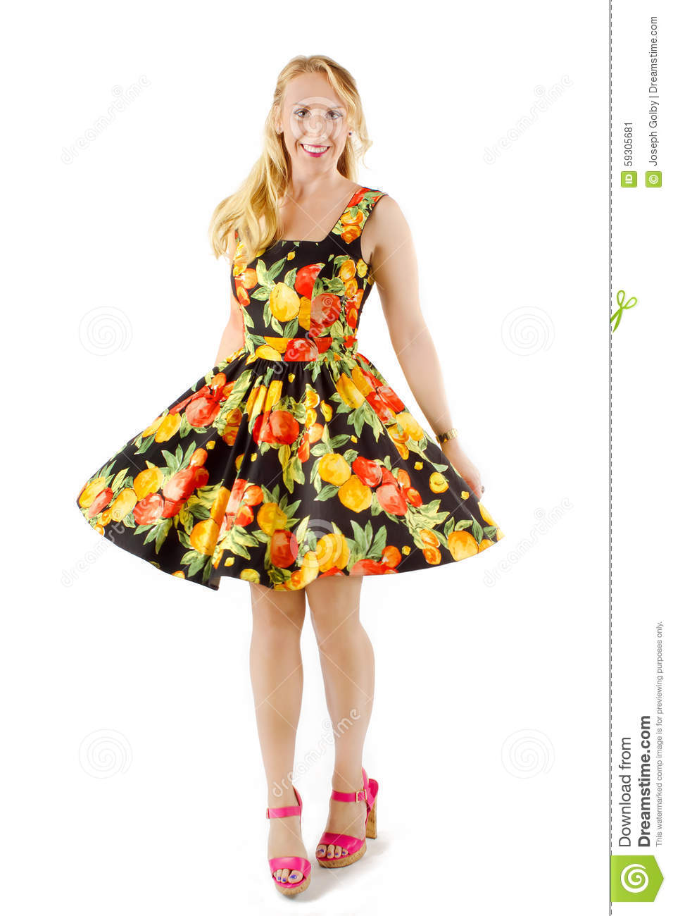 Beautiful Woman In Colorful Fruit Dress Stock Image