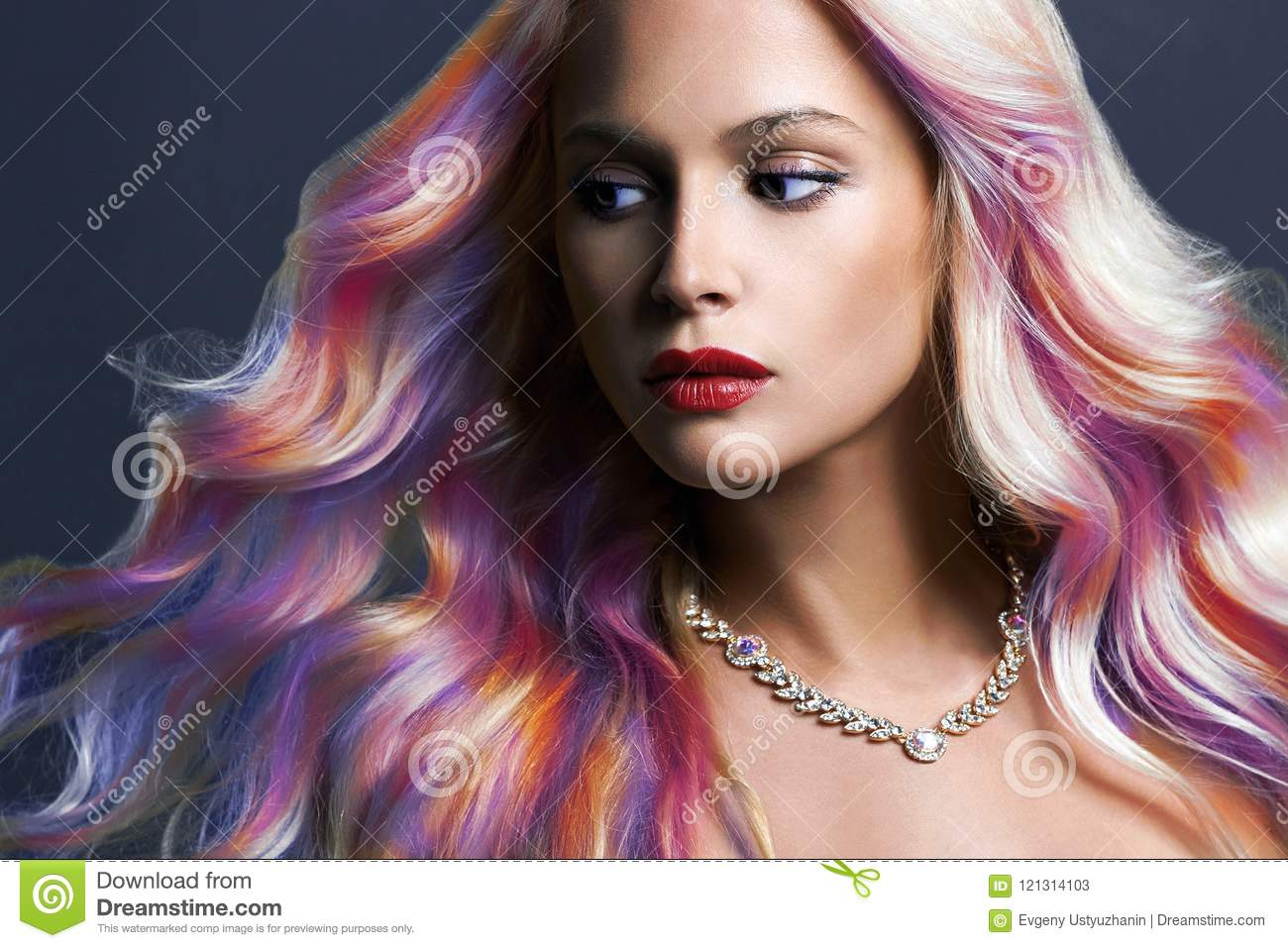 Beautiful woman with Colorful hair and Jewelry
