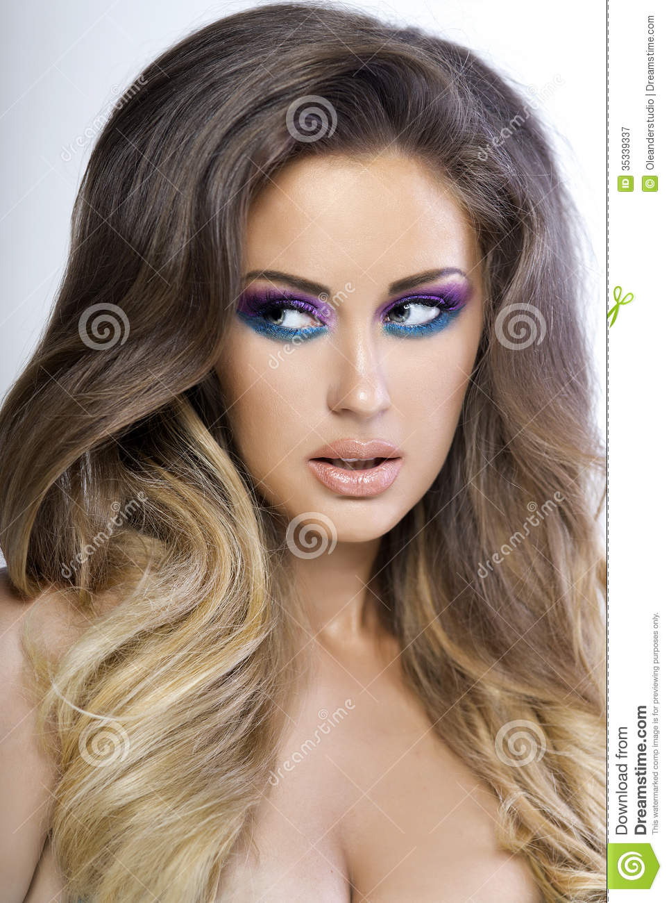 Beautiful Woman With Colorful Makeup Stock Image Image