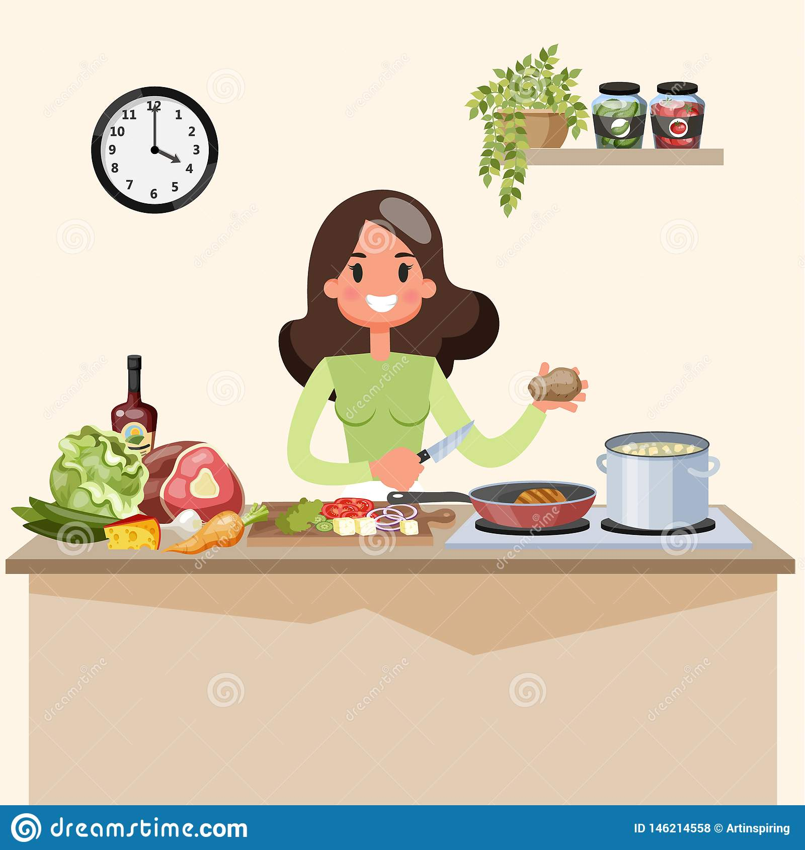 Beautiful Woman Cooking Soup On The Kitchen Stock Vector