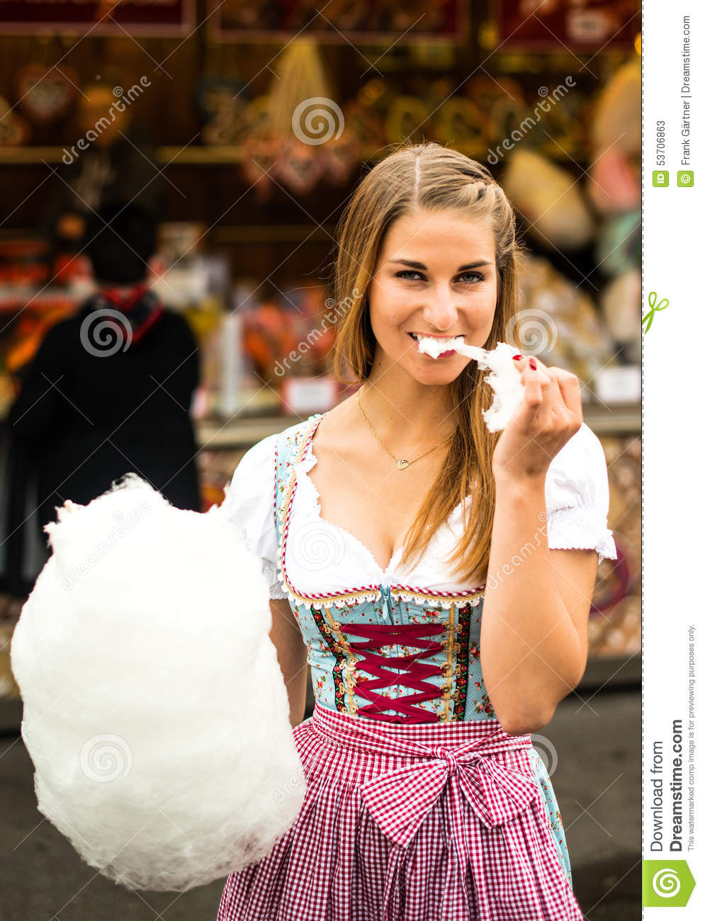 Beautiful woman with cotton candy