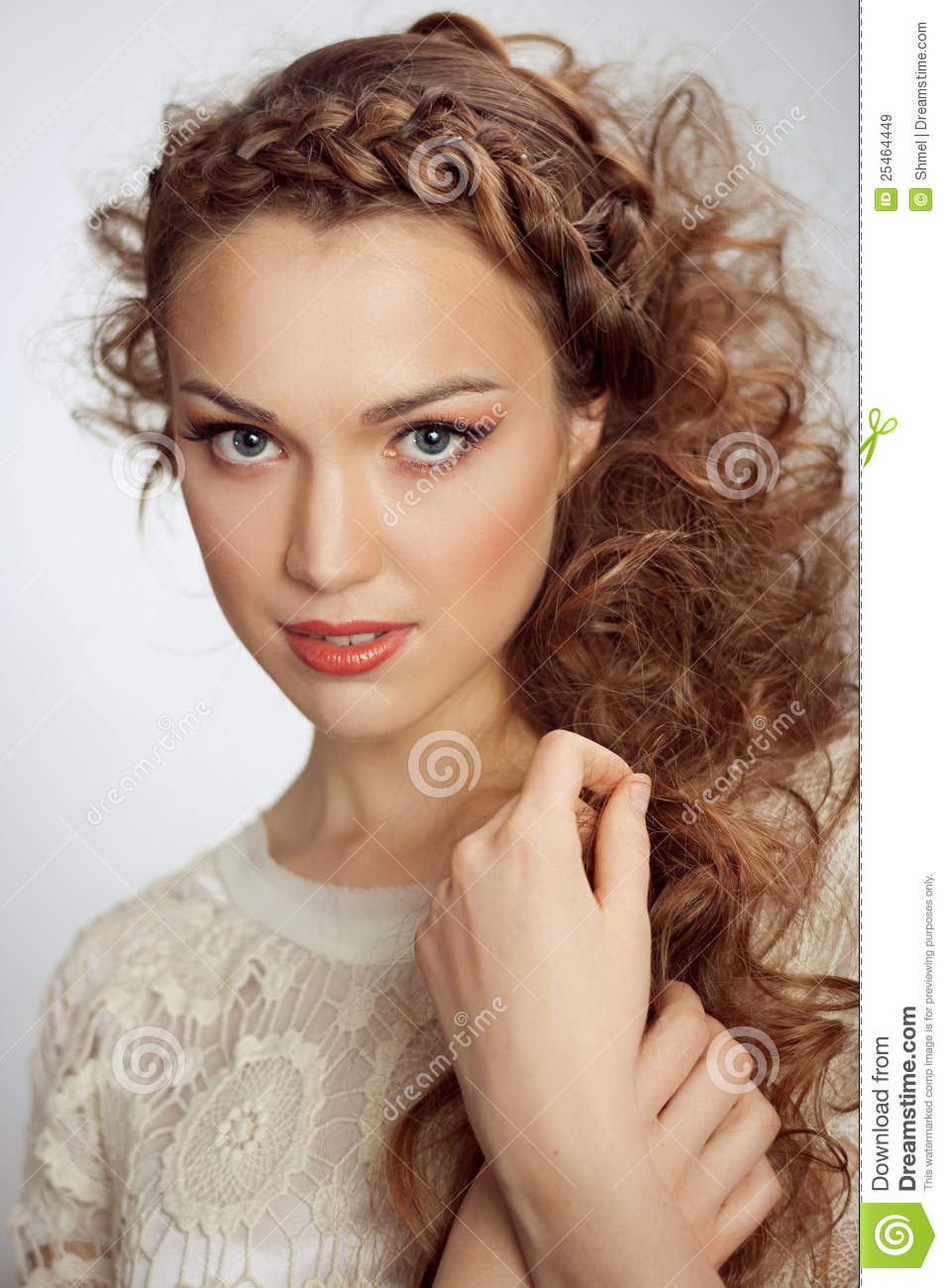 Beautiful Woman. Curly Hair Stock Image - Image of