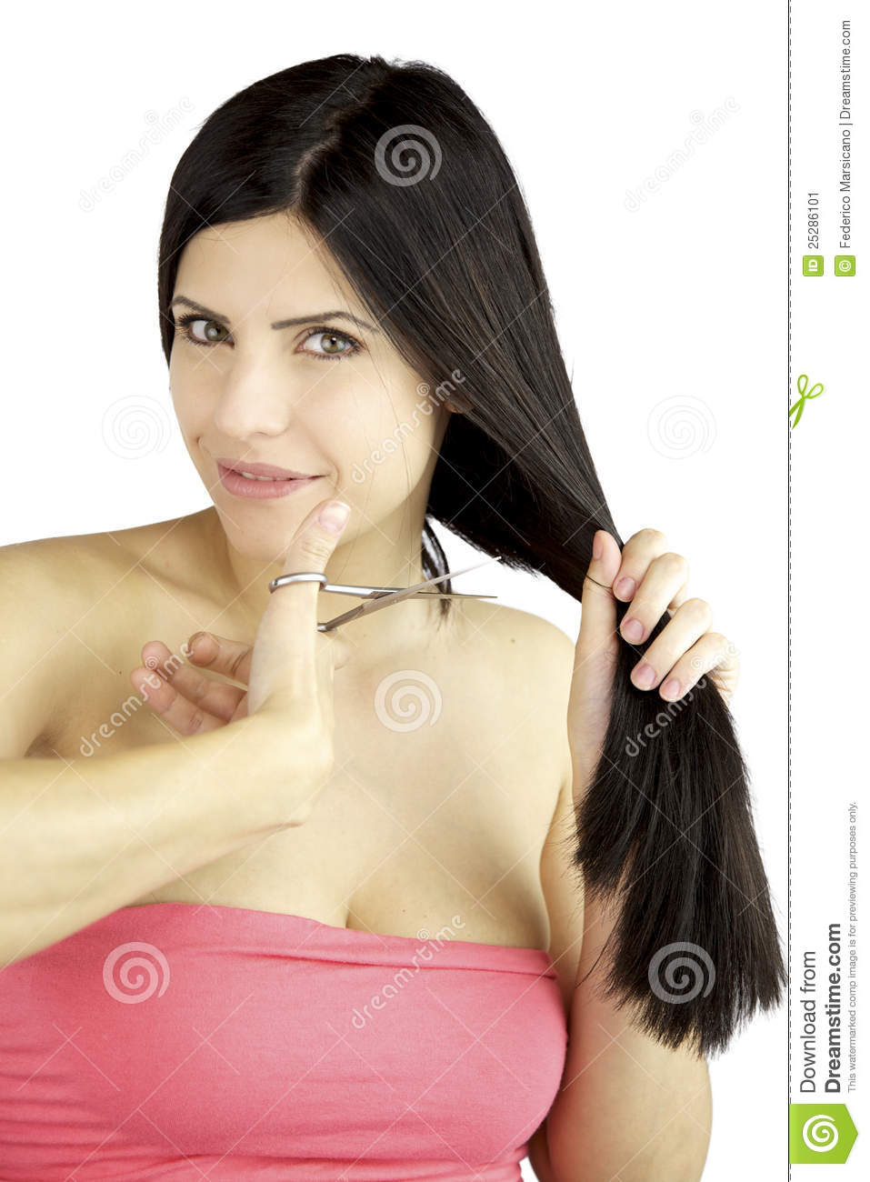 Beautiful Hair Cutting : More similar stock images of ` Beautiful woman cutting her long hair `