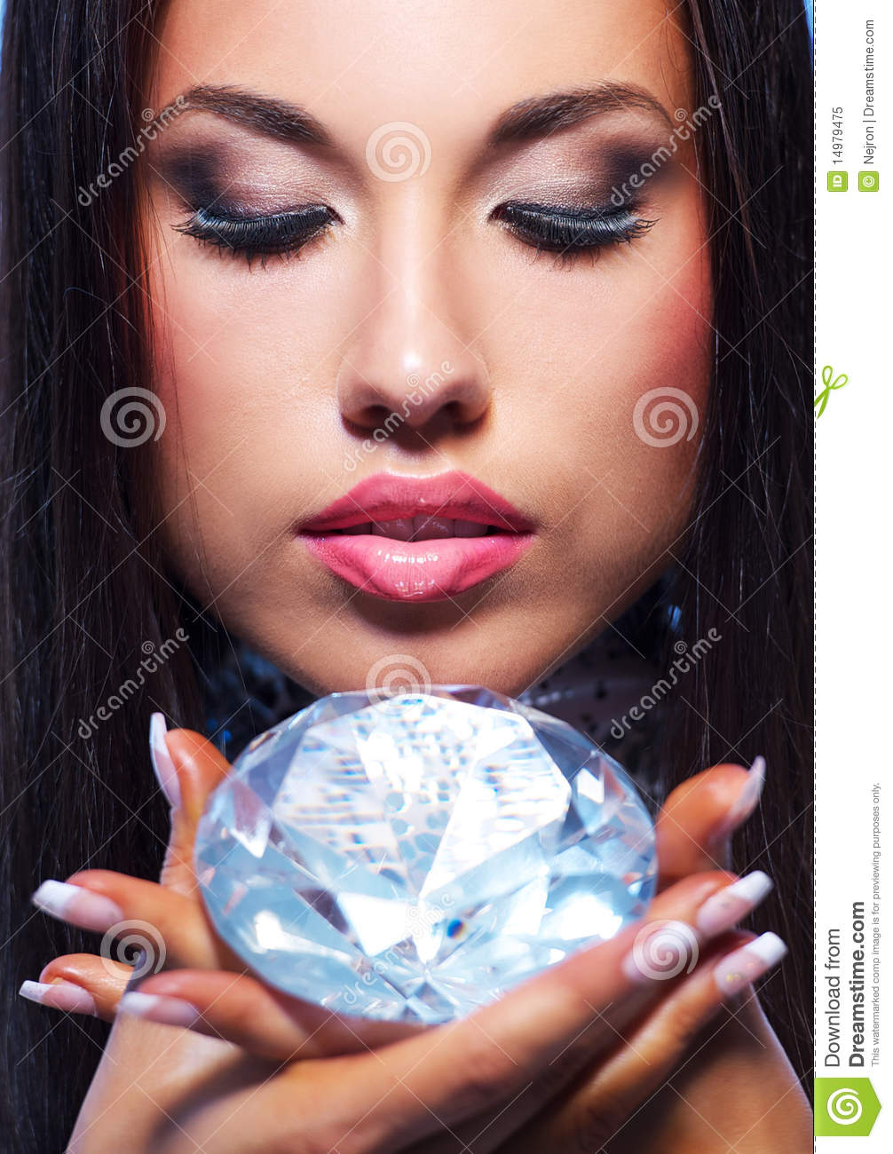 Beautiful woman with a diamond