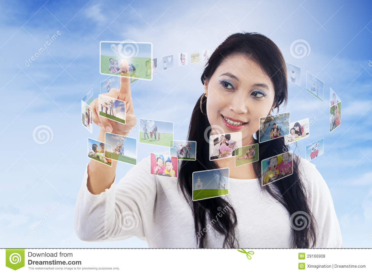 Beautiful Woman And Digital Contact Stock Illustration ...