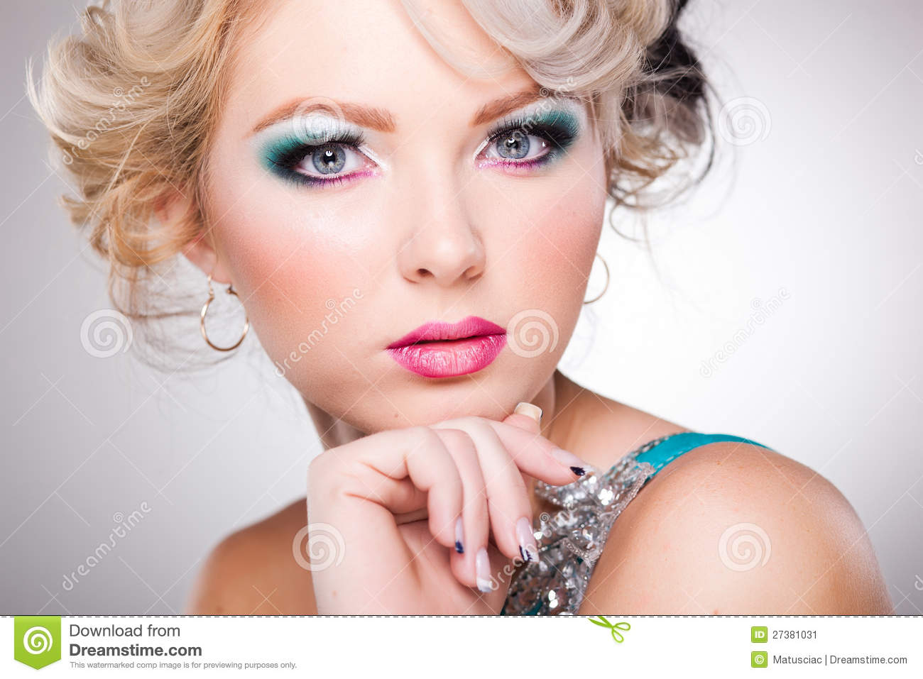 Doll Face Makeup Beautiful woman with doll face