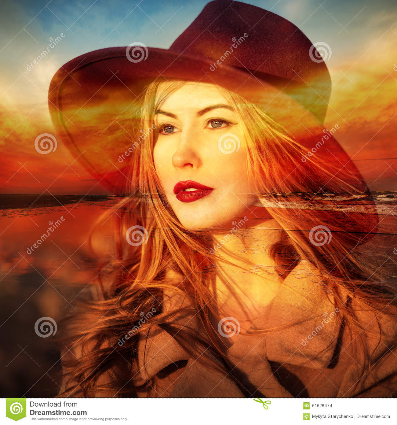 Beautiful Woman Dreamer On Beach At Sunset Time Stock