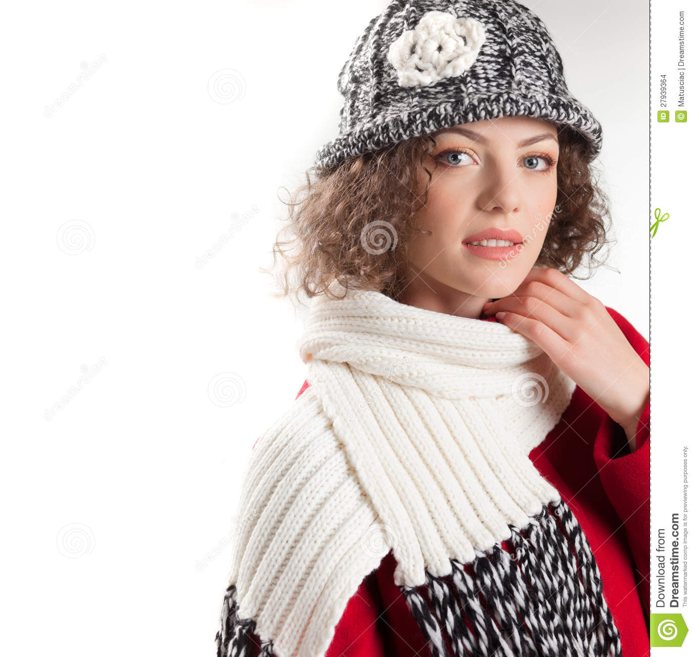 beautiful woman dressed  winter clothes smiling stock images image