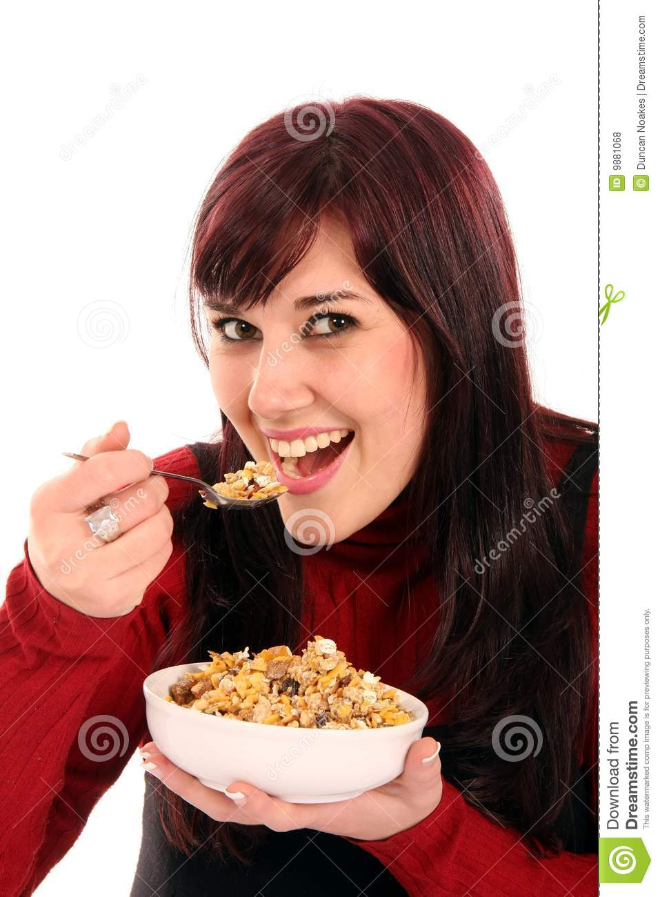 Beautiful Eat In Kitchens: Beautiful Woman Eating Breakfast Stock Photo