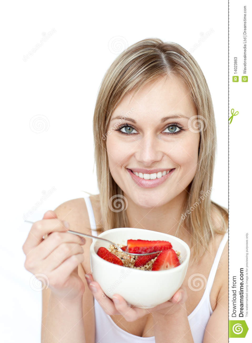 Beautiful Eat In Kitchens: Beautiful Woman Eating Cereal With Strawberries Stock