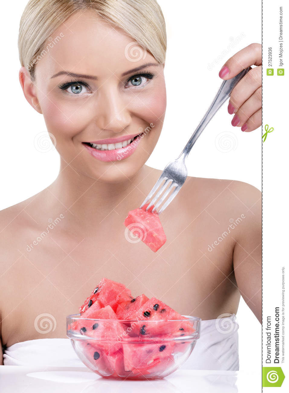 Beautiful Eat In Kitchens: Young Beautiful Woman Eating A Watermelon Royalty-Free