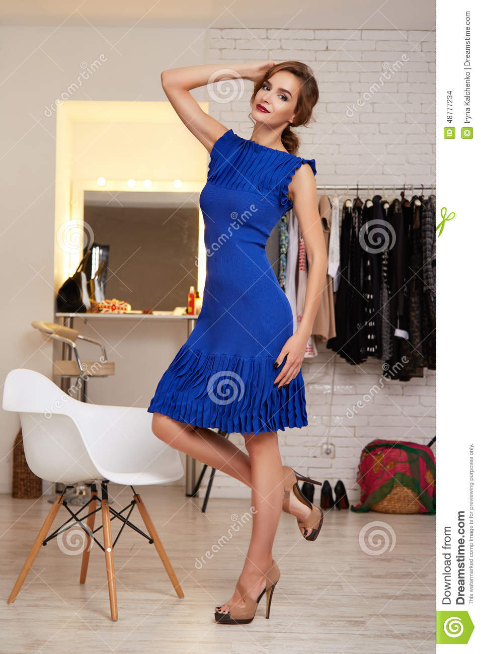 Beautiful Woman In Evening Short Dress For Party Stock
