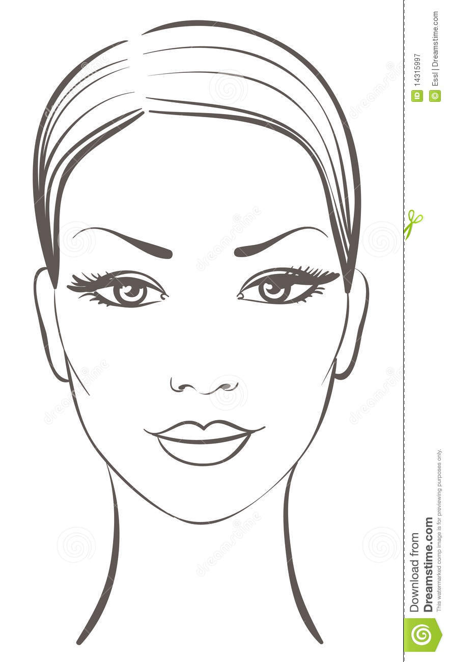 Line Drawing Faces : Beautiful woman face stock vector illustration of