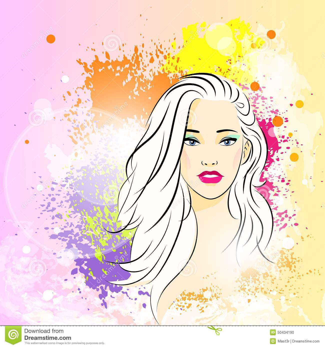 Beautiful Woman Face Colorful Ink Paint Splash Stock