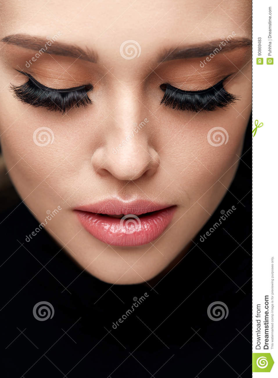 6765de0d29f Long Black Eyelashes. Portrait Of Beautiful Woman Face With Closed Eyes And  Thick Fake Eye Lashes. Closeup Of Girl With Smooth Skin, Fresh Facial Makeup .