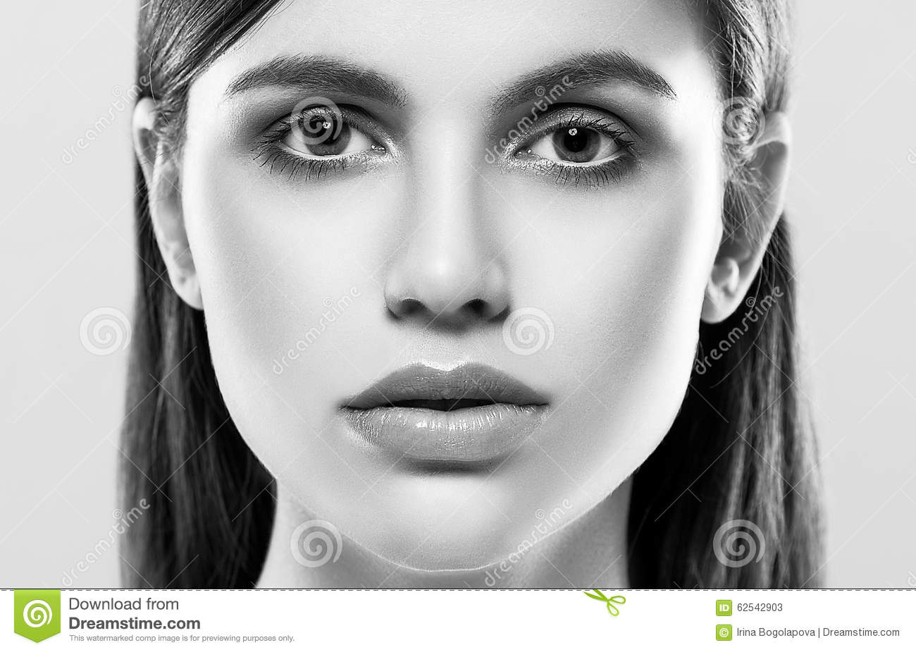 Royalty free stock photo beautiful woman face studio on white with lips black and white