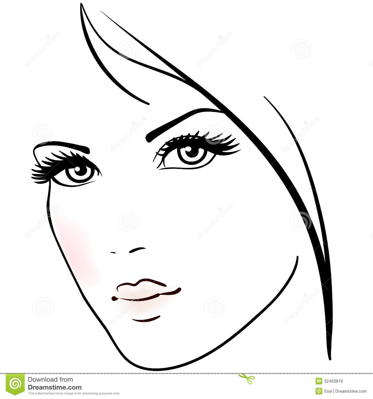 Line Drawing Face Vector : Beautiful woman face stock vector illustration of girl