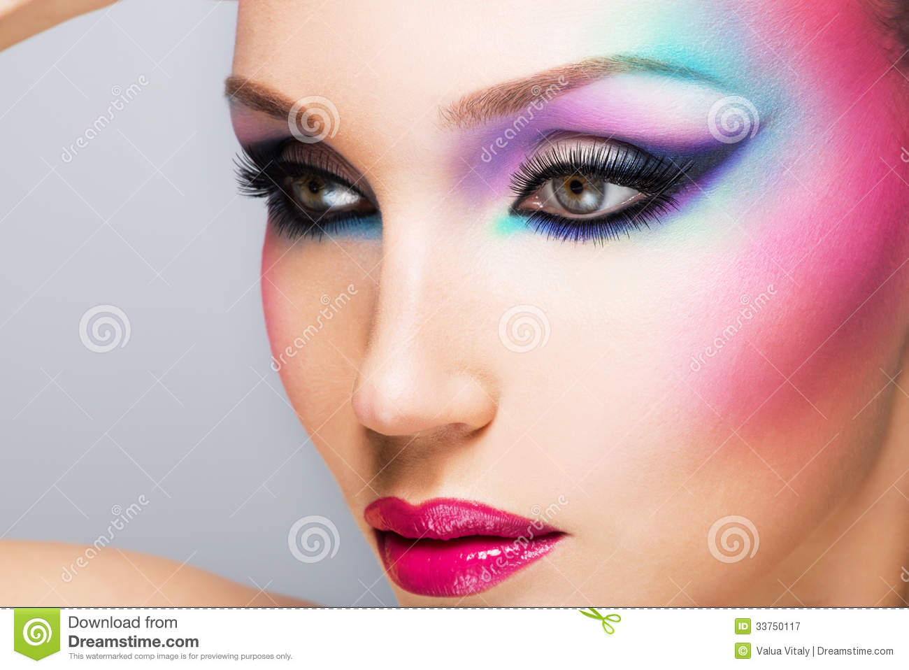 Beautiful Woman With Fashion Bright Makeup Stock Image